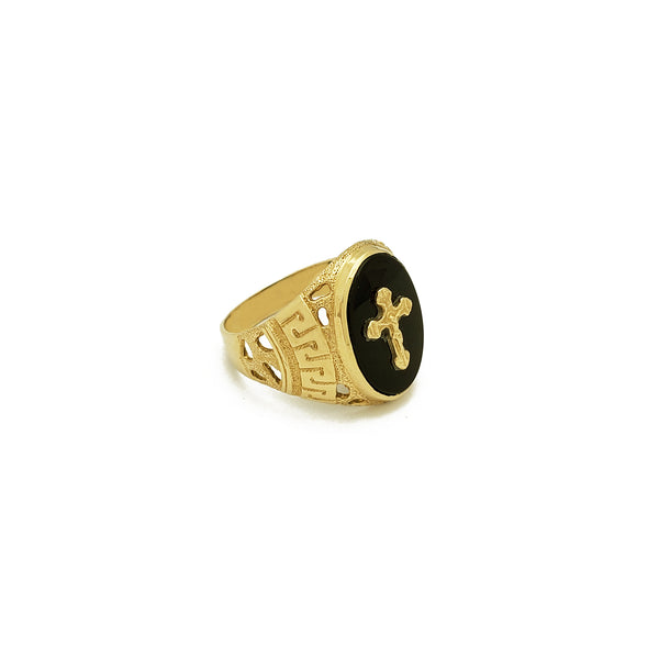 Anillo de ónix negro de crucifijo de clave griega (14K) Popular Jewelry New York