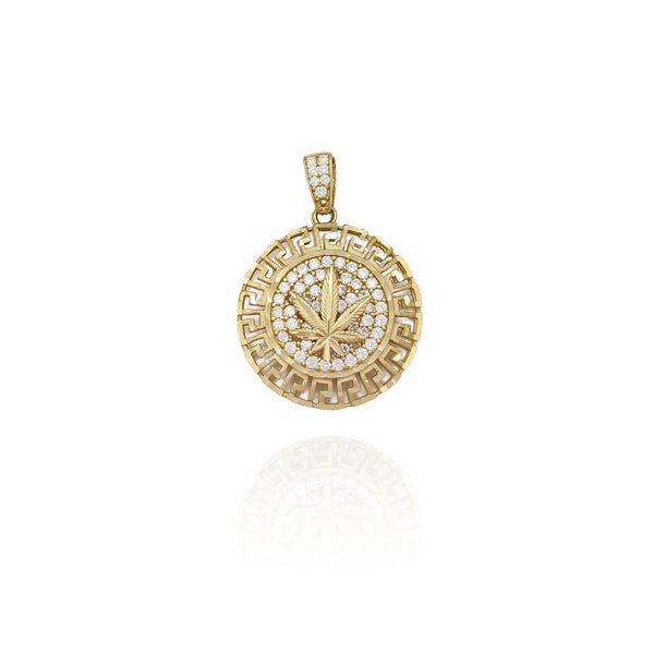 Greek-Key Marijuana Leaf CZ Medallion Pendant (10K)
