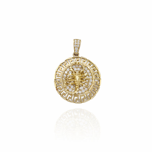 Greek Key Scorpio CZ Pendant (10K)