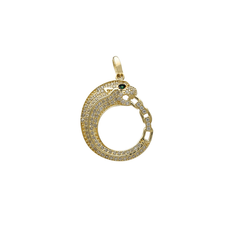 Green-Eye Panther Crescent Pendant (14K) Popular Jewelry New York