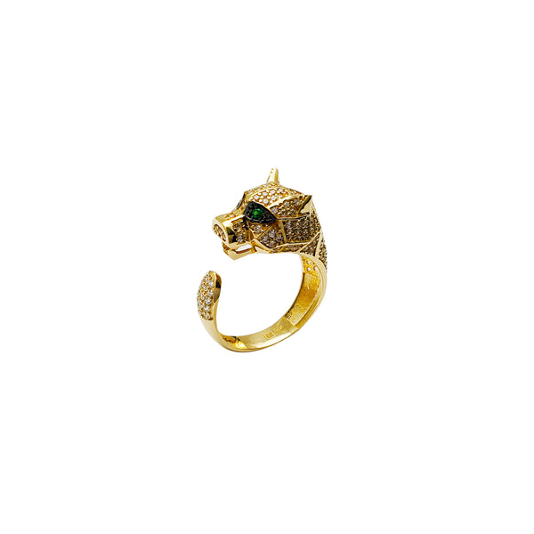 Green-Eyes Panther Ring (14K) Popular Jewelry New York