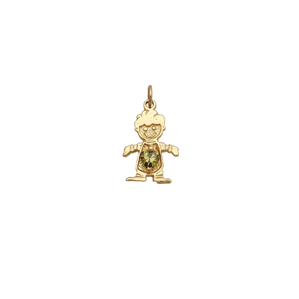 Green Stone Boy Pendant (14K) Popular Jewelry New York