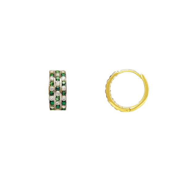 Green & White Checkered Patterns Huggie Earrings (14K) Popular Jewelry New York
