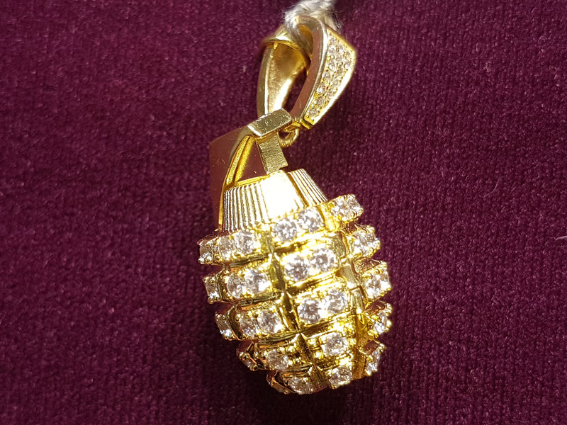 Iced-Out Grenade Pendant Silver - Lucky Diamond 恆福珠寶金行 New York City 169 Canal Street 10013 Jewelry store Playboi Charlie Chinatown @luckydiamondny 2124311180