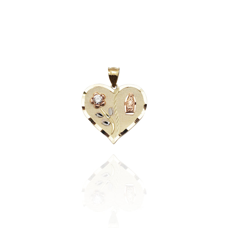 Guadalupe and Rose Heart Pendant (14K)