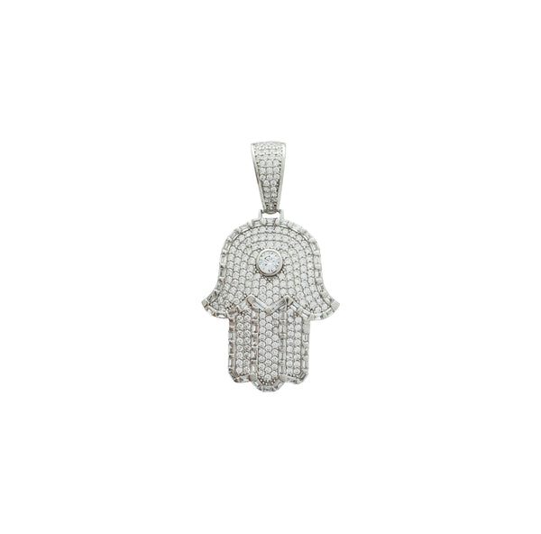 Iced-Out Hamsa Pendant (Silver)