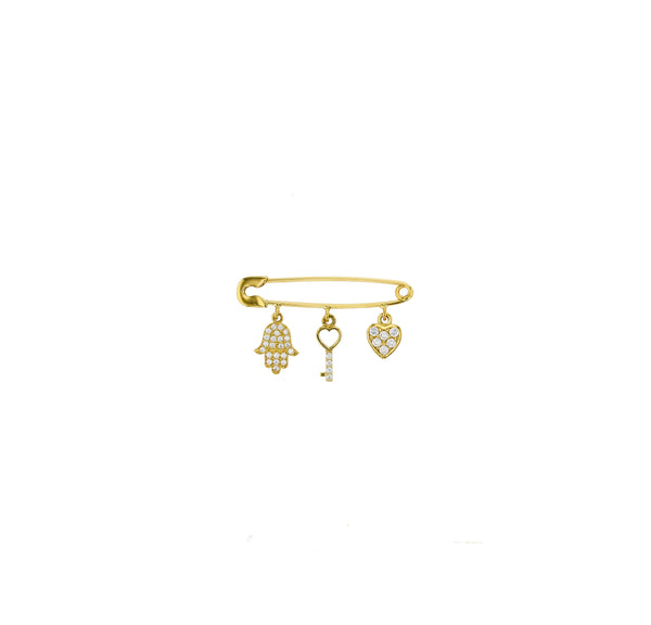 Hamsa , Key and Heart Safety Pin (14K)