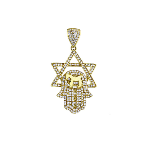 Yellow Gold CZ Micropave Hamsa with Star David Pendant (14K)