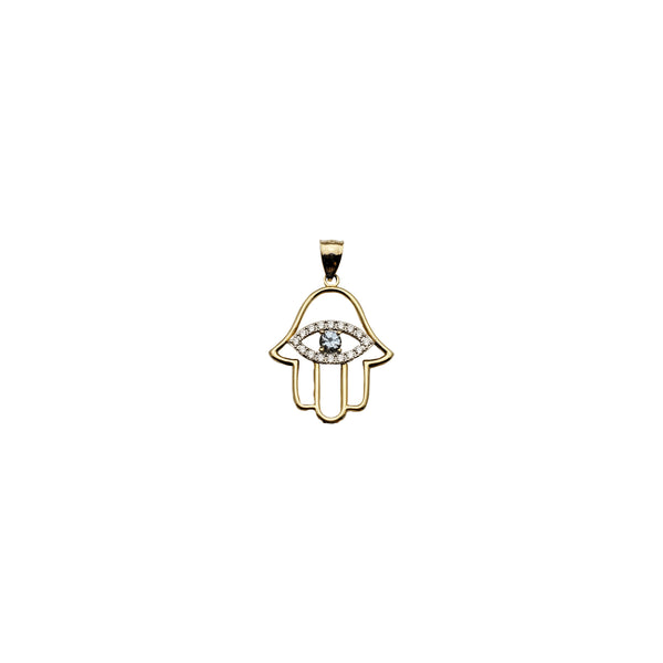 Yellow Gold CZ Evil Eyes Hamsa Pendant (14K)