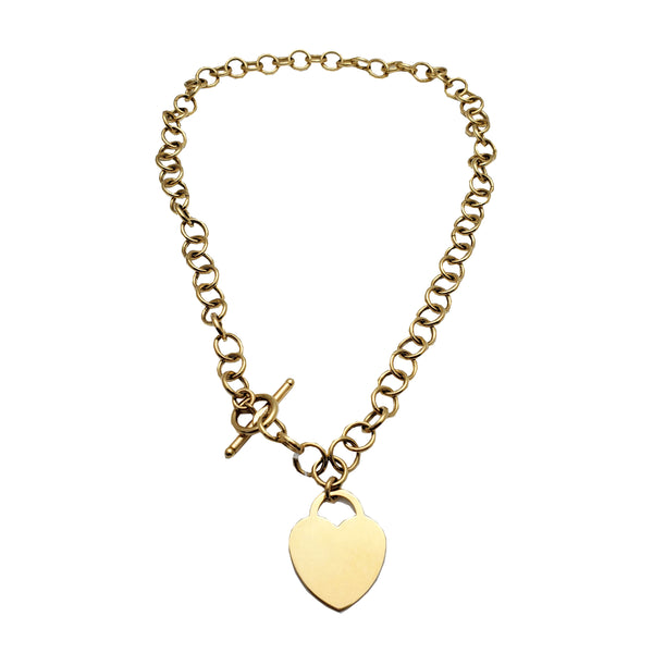 T-Bar Clasp Rolo Necklace (14K)