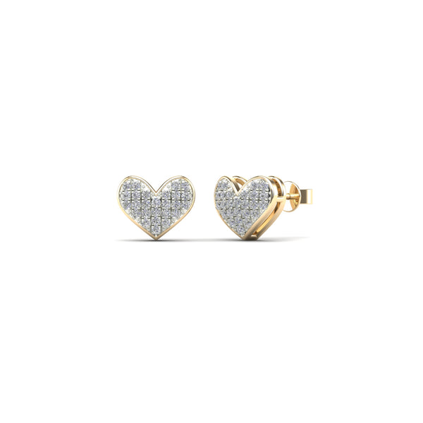 Diamond Heart Stud Earrings (14K)