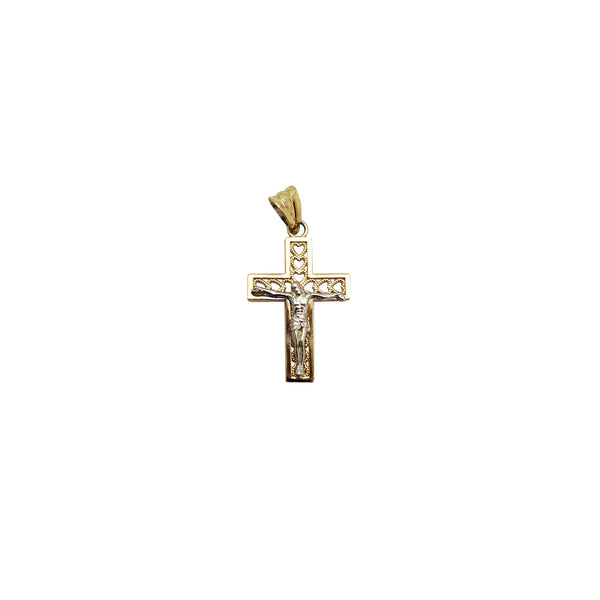 Heart Imprint Crucifix Pendant (14K)