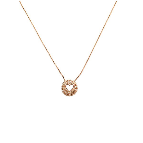 Rose Gold Diamond Heart Necklace (10K)