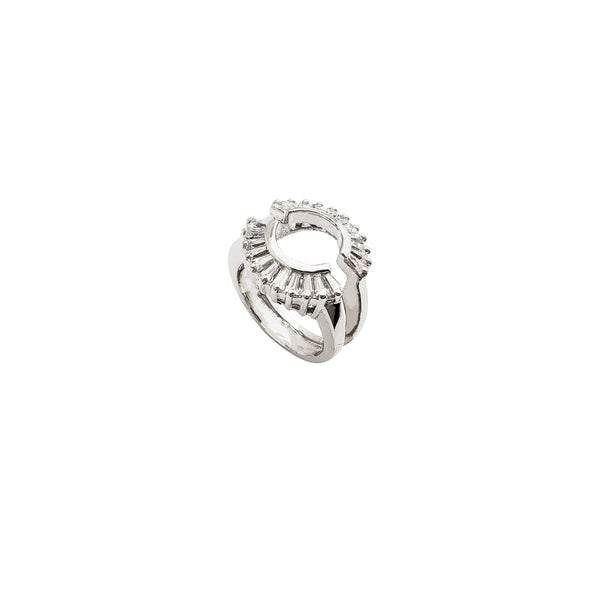 Half Separated CZ Ring (Silver)