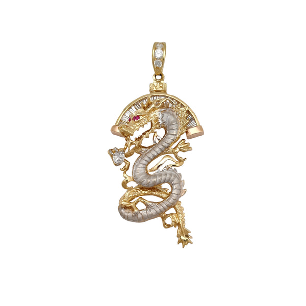 Halo Channel Setting Dragon Pendant (14K) Popular Jewelry New York