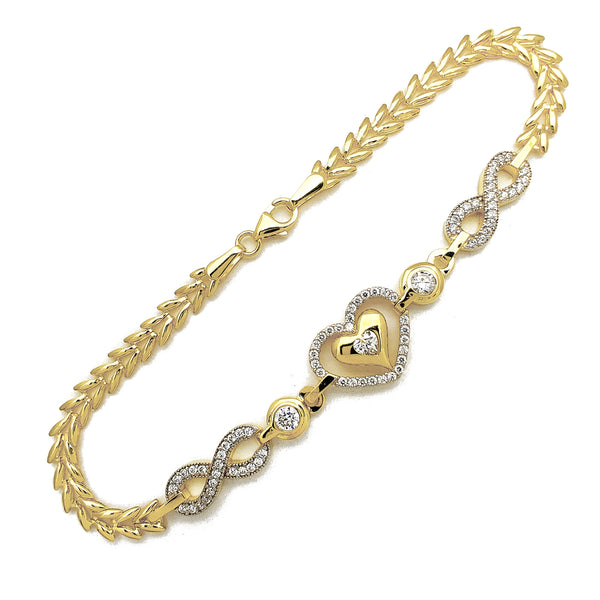 Halo Pave Heart & Infinity Fancy Bracelet (14K) Popular Jewelry New York