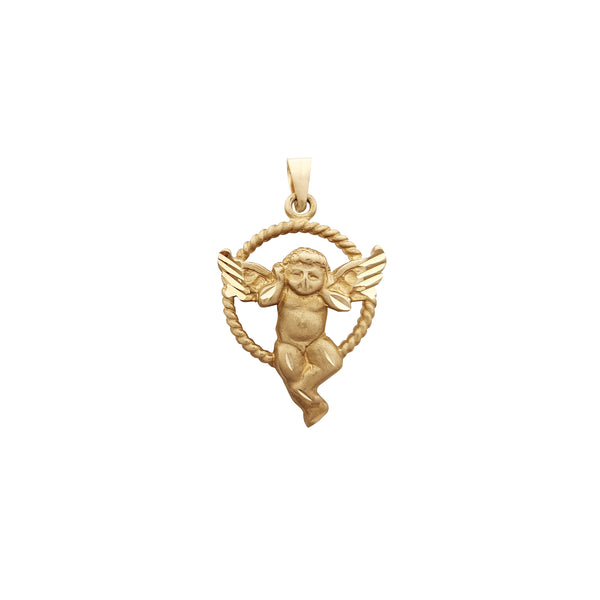Halo Roped Baby Angel Pendant (14K) Popular Jewelry New York