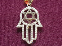 Iced Out Star of David Hamesh Hand Pendant Silver - Popular Jewelry