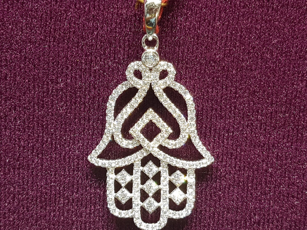 Iced Out Hamsa / Hamesh Hand Eye Pendant Srebrny