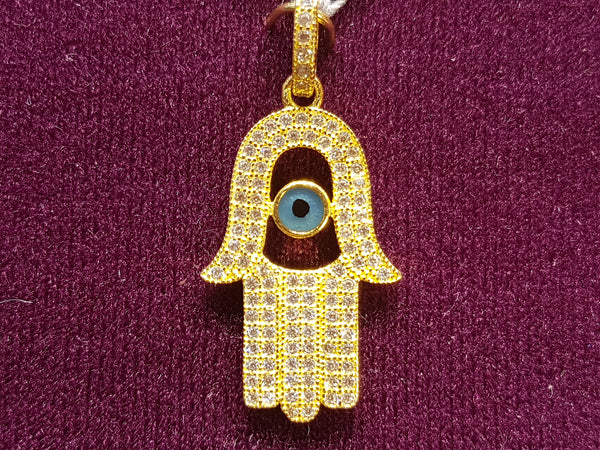 Iced Out Hamsa / Hamesh Hand with Evil Eye Pendant Silver - Lucky Diamond 恆福珠寶金行 New York City 169 Canal Street 10013 Jewelry store Playboi Charlie Chinatown @luckydiamondny 2124311180