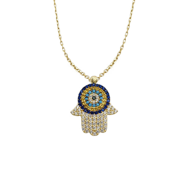 Ġiżiraġġ Hamsa Hand CZ Necklace (14K) Popular Jewelry NY
