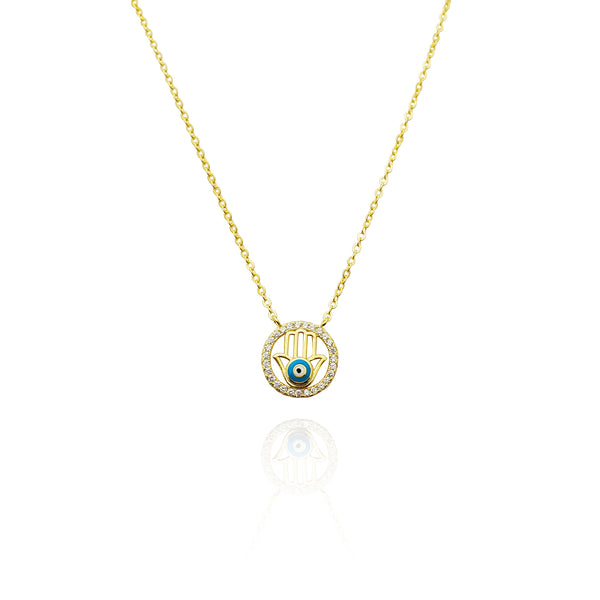 Hamsa Rounded CZ Necklace (Silver)