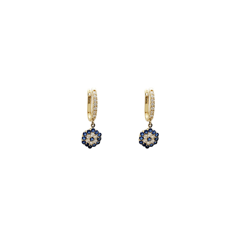 Hanging Hexagon CZ Huggie Earrings (14K)