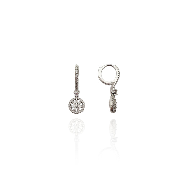 Hanging Wheel CZ Earrings (Silver) New York Popular Jewelry