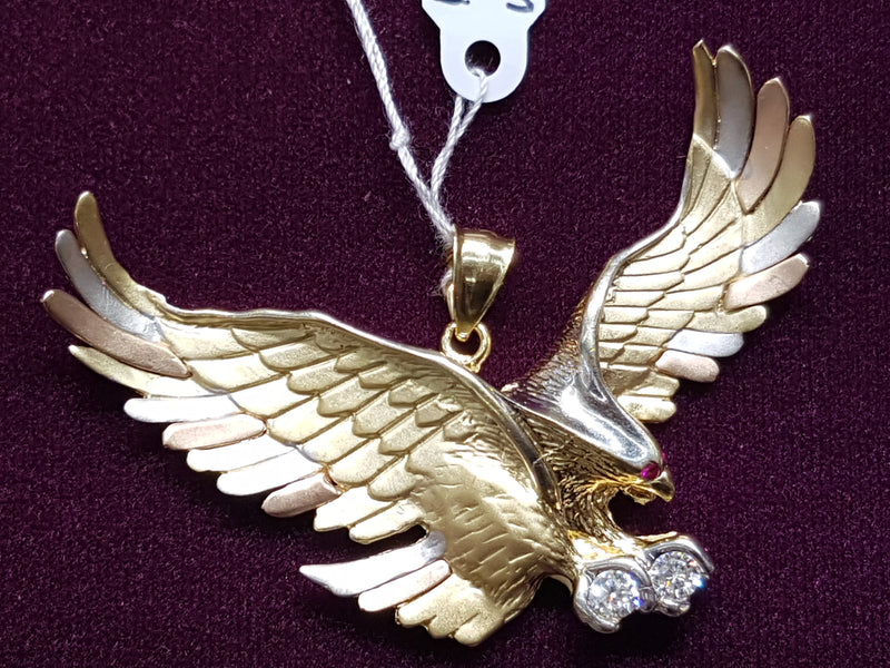 Hawk Pendant CZ Tricolor 14K - Lucky Diamond 恆福珠寶金行 New York City 169 Canal Street 10013 Jewelry store Playboi Charlie Chinatown @luckydiamondny 2124311180