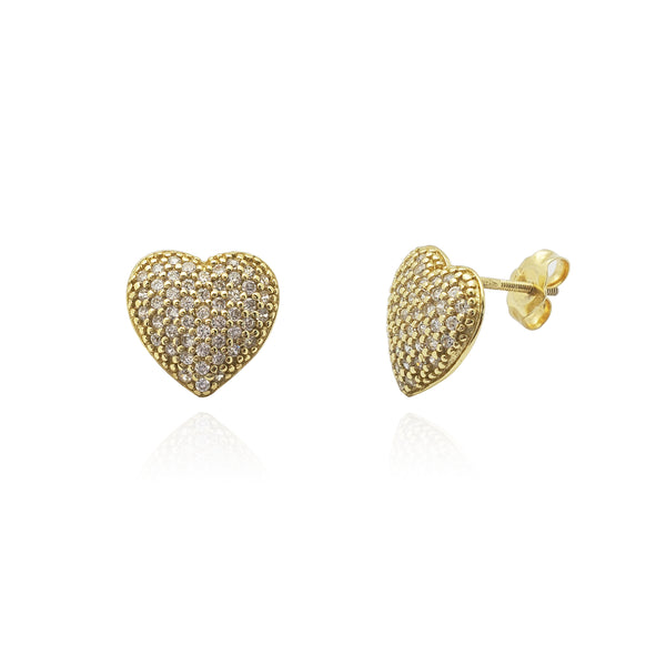 Puffy Pave Heart Stud Earrings (Silver) Popular Jewelry New York