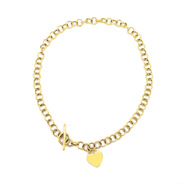 Heart Charm Rolo Fancy Necklace (14K) Popular Jewelry New York