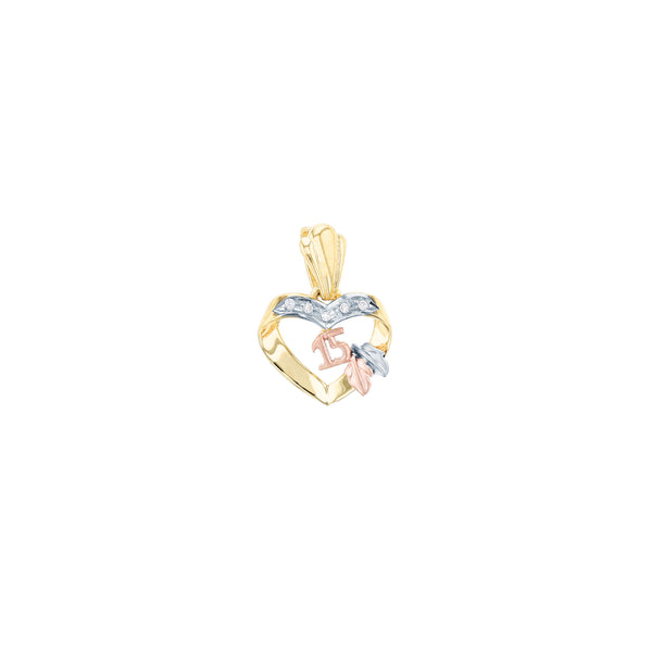 Heart Shaped Ribbon Quinceañera Pendant (14K) Popular Jewelry New York