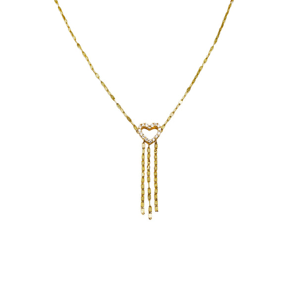 Heart With Drops CZ Necklace (14K)