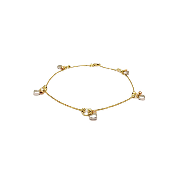 Heart Bead Anklet Bracelet (14K) 14 Karat Yellow Gold, Popular Jewelry New York