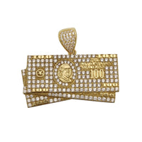 Iced Out Hundred Dollars Bills CZ Pendant (14K) 14 Karat Yellow Gold, Cubic Zirconia, Popular Jewelry New York