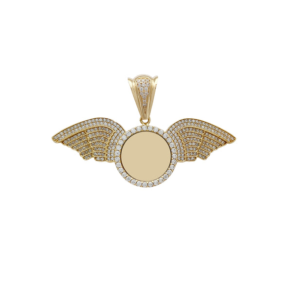 Iced-Out Winged Round Medallion Memorial Picture Medallion Pendant (14K) Popular Jewelry New York