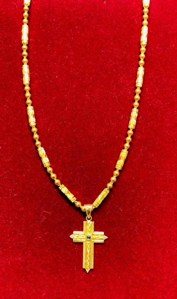 Cross Pendant and bullet ball chain (24K).