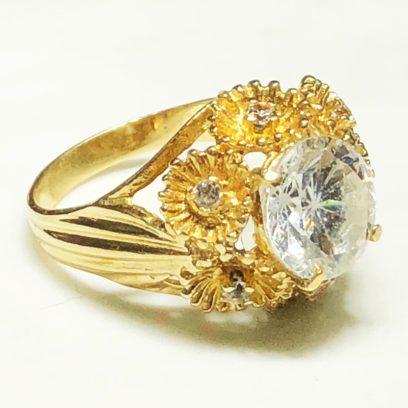 Floral Cocktail Ring CZ (14K)