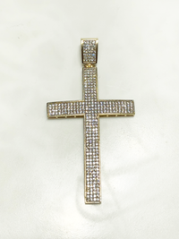 Cross CZ Channel Pendant (14K)