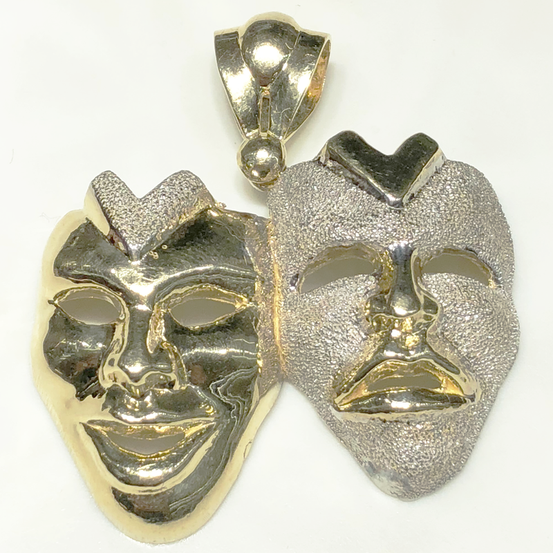 Comedy and Tragedy Theatre Mask Pendant (10K)