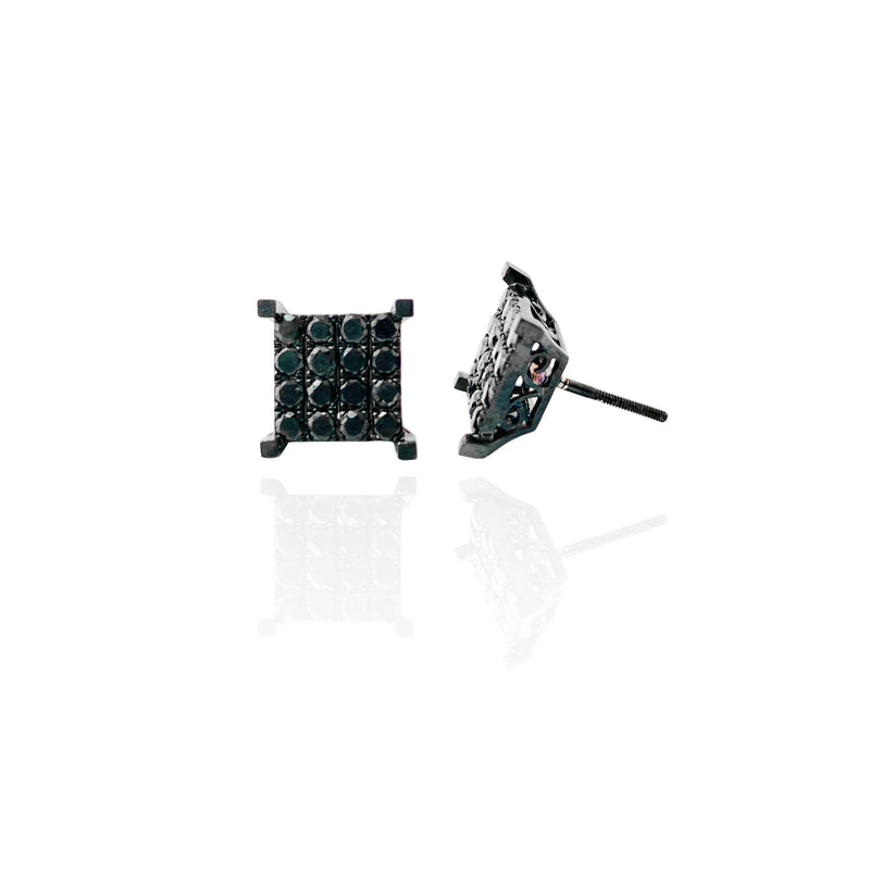 Black Diamond Cluster Square Earrings (10K)