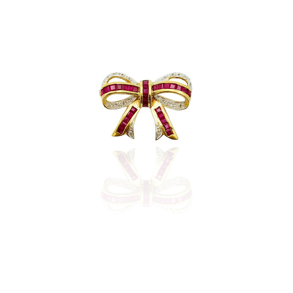 Diamond Fancy Ribbon Tie Brooch (14K)
