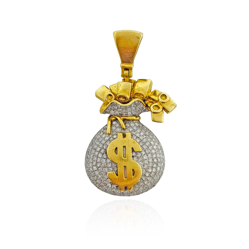 Iced Out Diamond Money Bag Pendant (10K)
