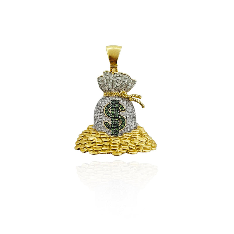 Iced Out Diamond Pile-O-Money Pendant (10K)