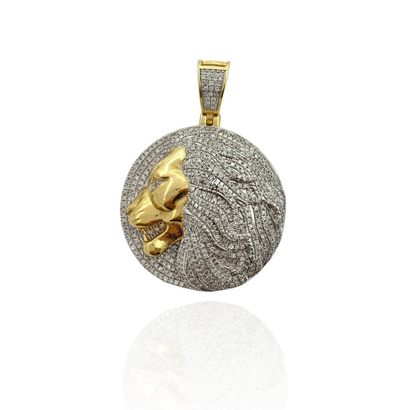 Diamond Iced Out Side-View Lion Head Pendant 10K Yellow Gold