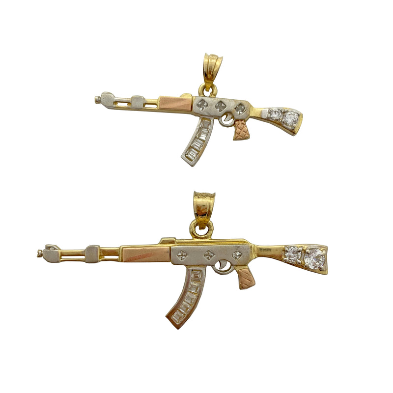 AK47 Tri-Gold Iced-Out Clip Pendant 14K