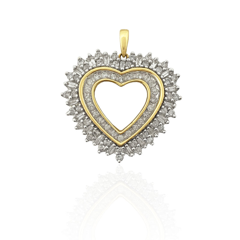 Double Outlined Diamond Heart Pendant (14K)