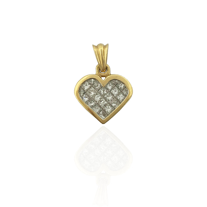 Princess Cut Diamond Heart Pendant (14K)
