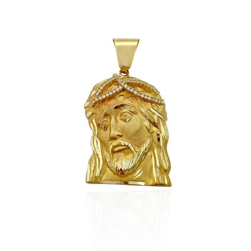 Solid Jesus Head CZ Crown 14K - Lucky Diamond 恆福珠寶金行 New York City 169 Canal Street 10013 Jewelry store Playboi Charlie Chinatown @luckydiamondny 2124311180