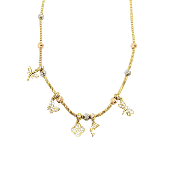 Tri-color Figures CZ Necklace (14K).